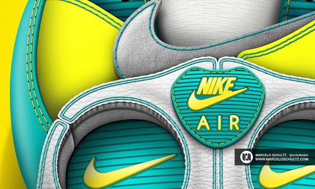 Marcelo Schultz 绘制 Nike Air Max 90 骷髅元素插画