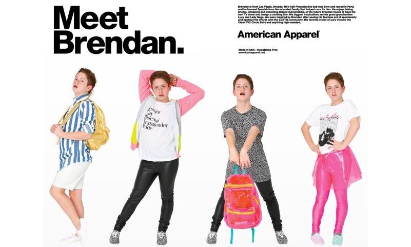 抢镜小妖男 Brendan Jordan 成为 American Apparel 广告模特