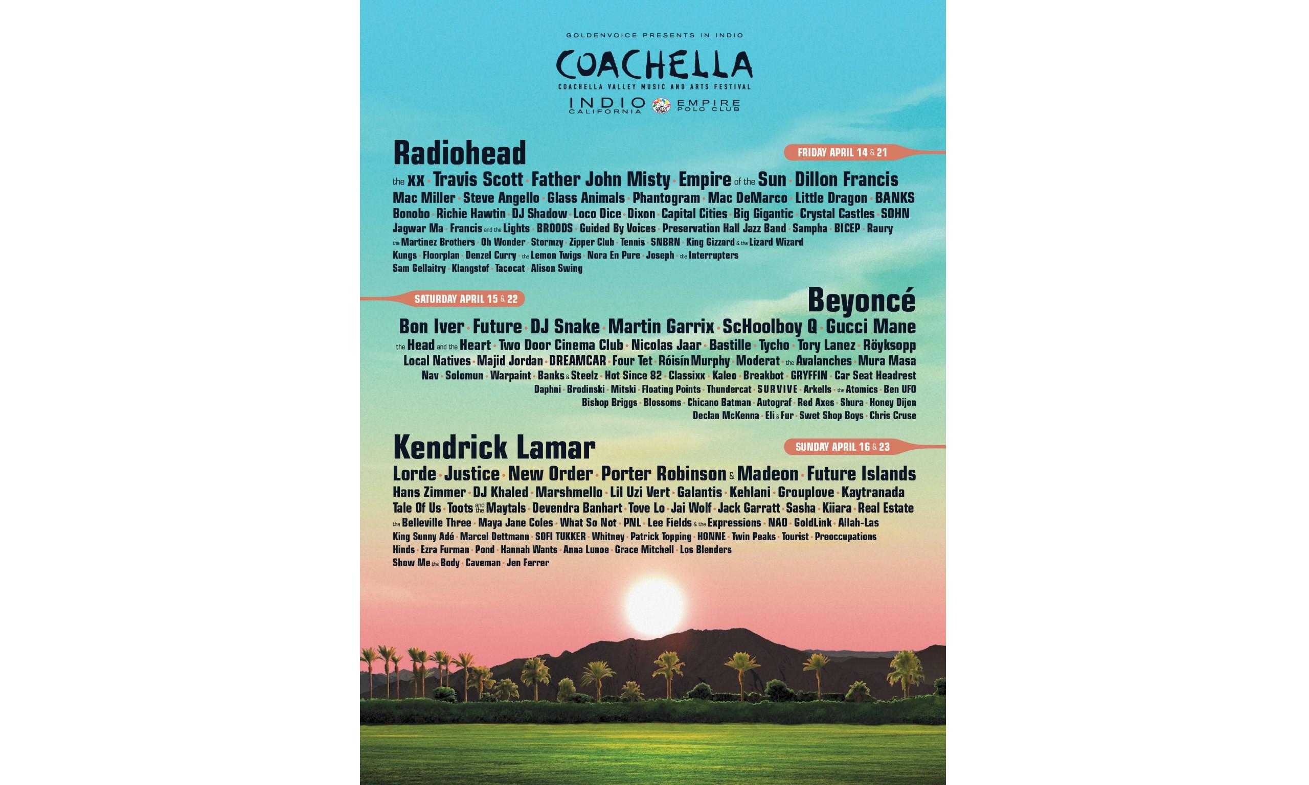 星光璀璨,Coachella 音乐节嘉宾阵容公布