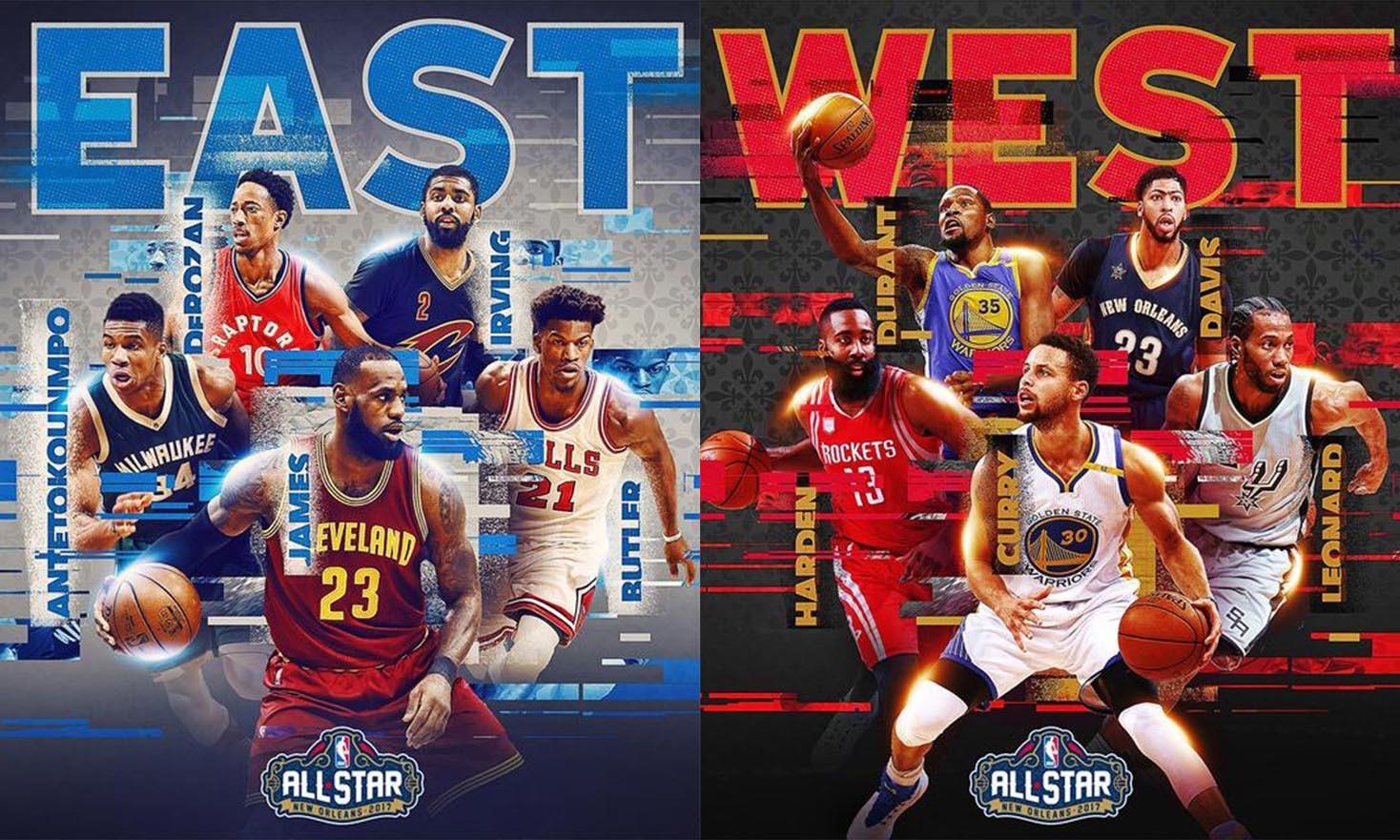三双狂韦少竟然落选,NBA 2017 全明星赛首发阵容公布