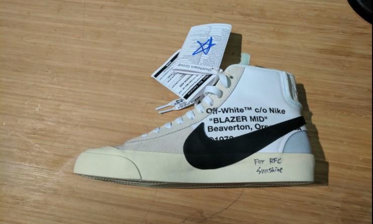 继续大号 Swoosh,OFF-WHITE x Nike Blazer Mid 清晰照现身