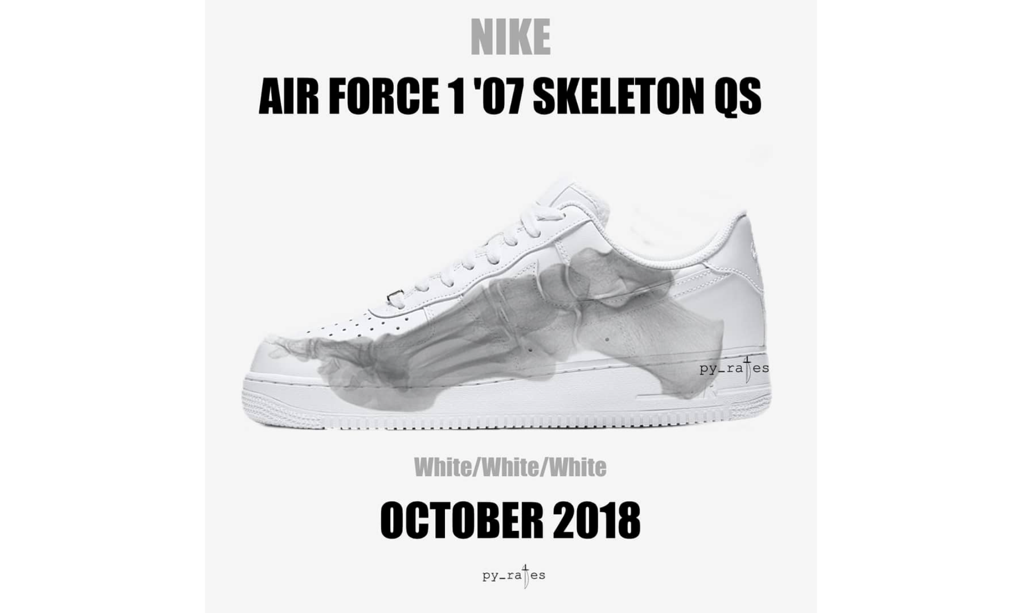 separation shoes 8ba29 90d4c 骨骼图案贯穿鞋身,Air Force 1 07 Skeleton QS 释出