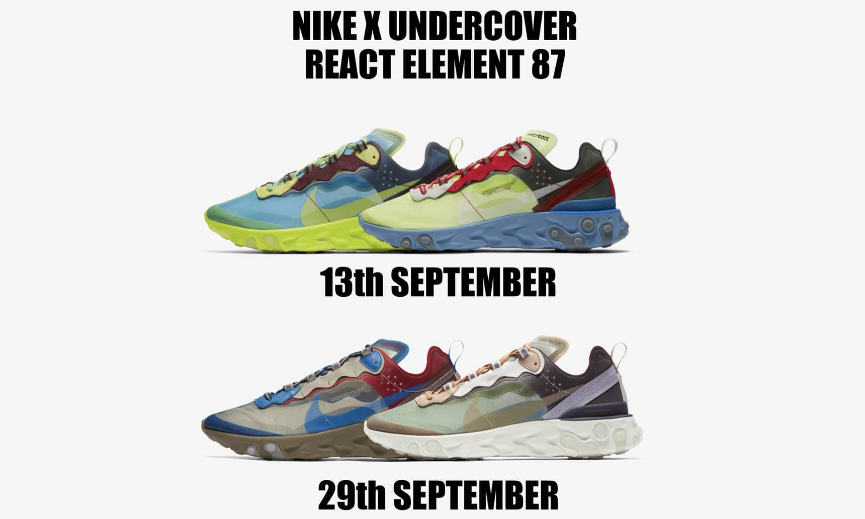 UNDERCOVER x Nike React Element 87 将分为两波发售