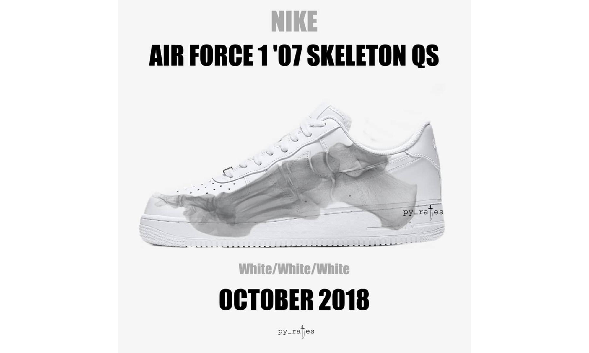骨骼图案贯穿鞋身,Air Force 1 '07 Skeleton QS 释出
