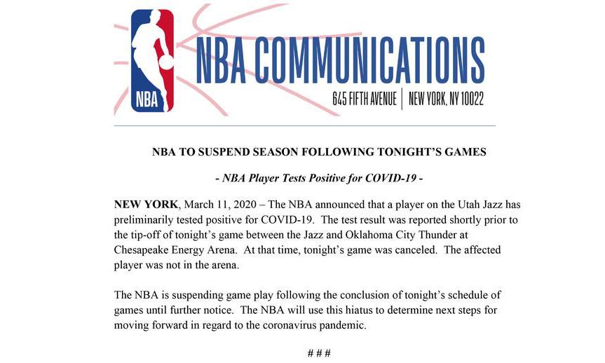NBA 宣布本赛季暂时停摆