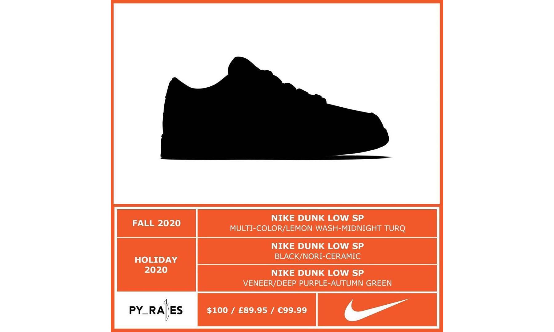 今年还将有三款 Nike Dunk Low SP 配色发售