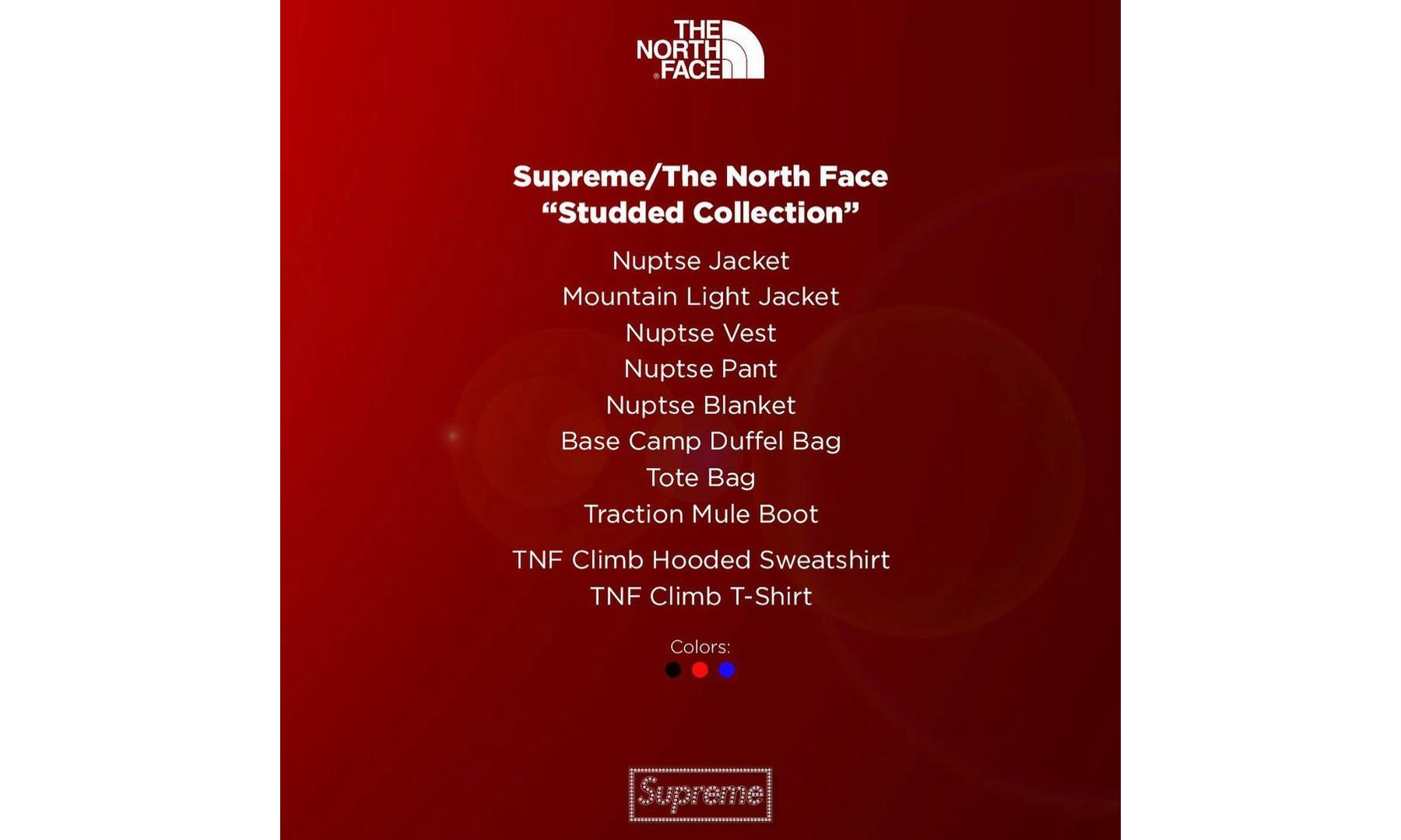 Supreme x THE NORTH FACE 推出全新 Studded Collection