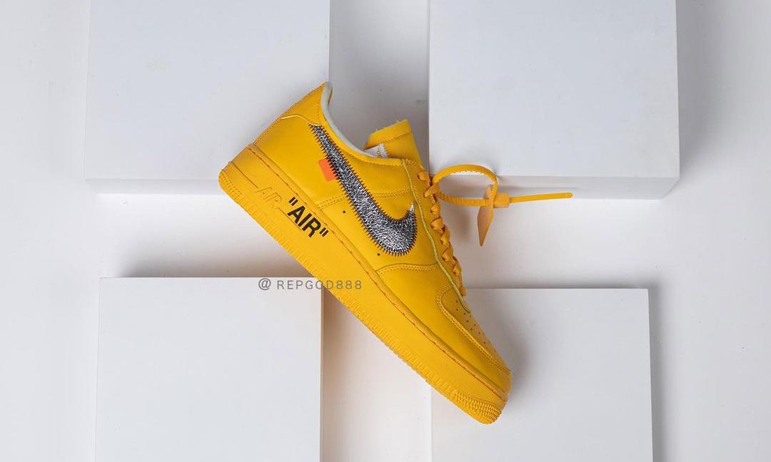 Off-White™ x Nike Air Force 1「University Gold」实物近赏