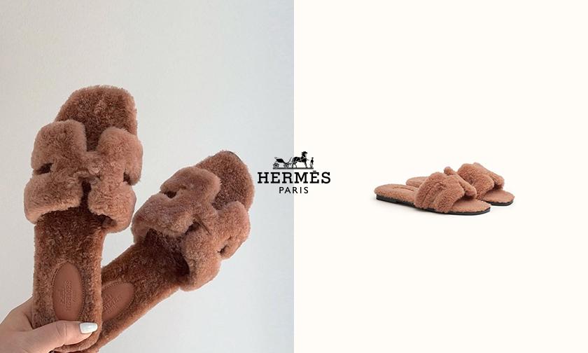 Hermès 爆款拖鞋推出毛绒材质版本