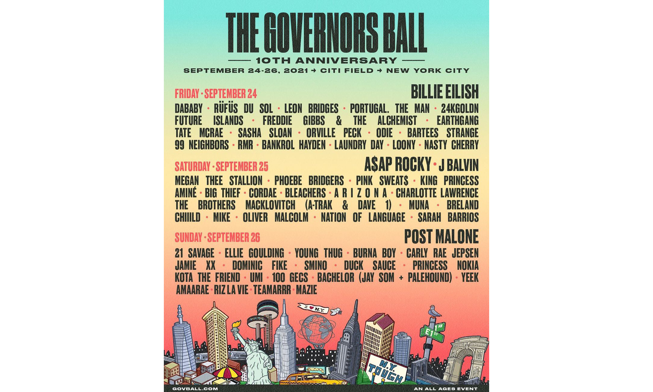 The Governors Ball 2021 音乐节完整阵容公开