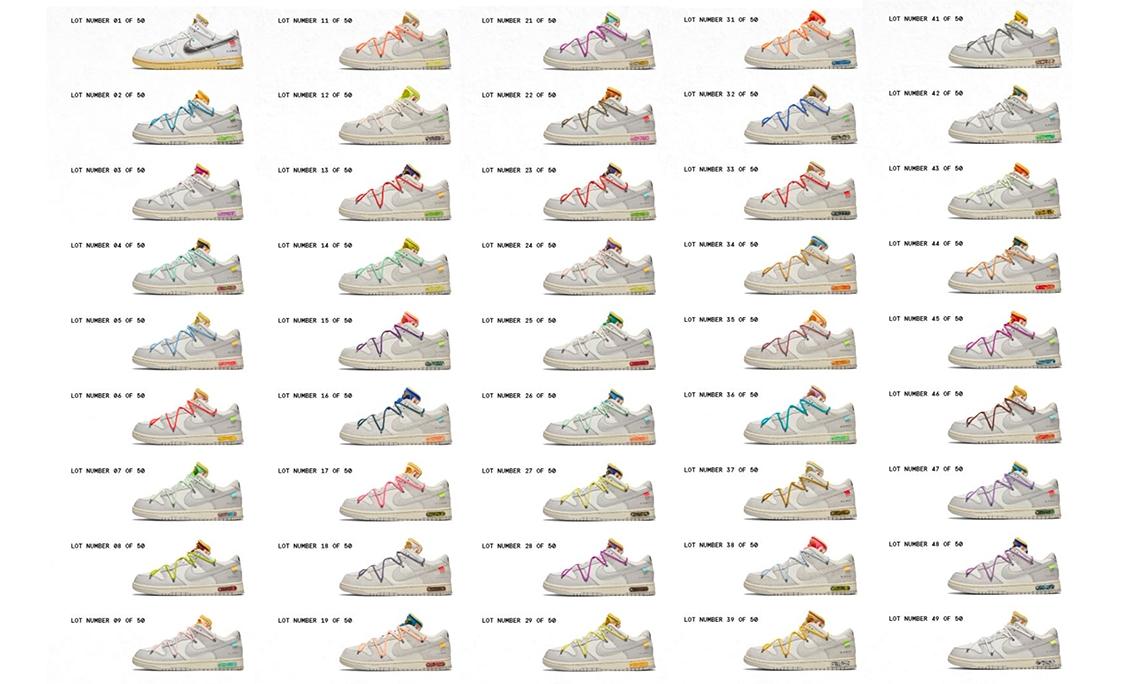 Off-White™ x Nike Dunk Low 50 双配色释出