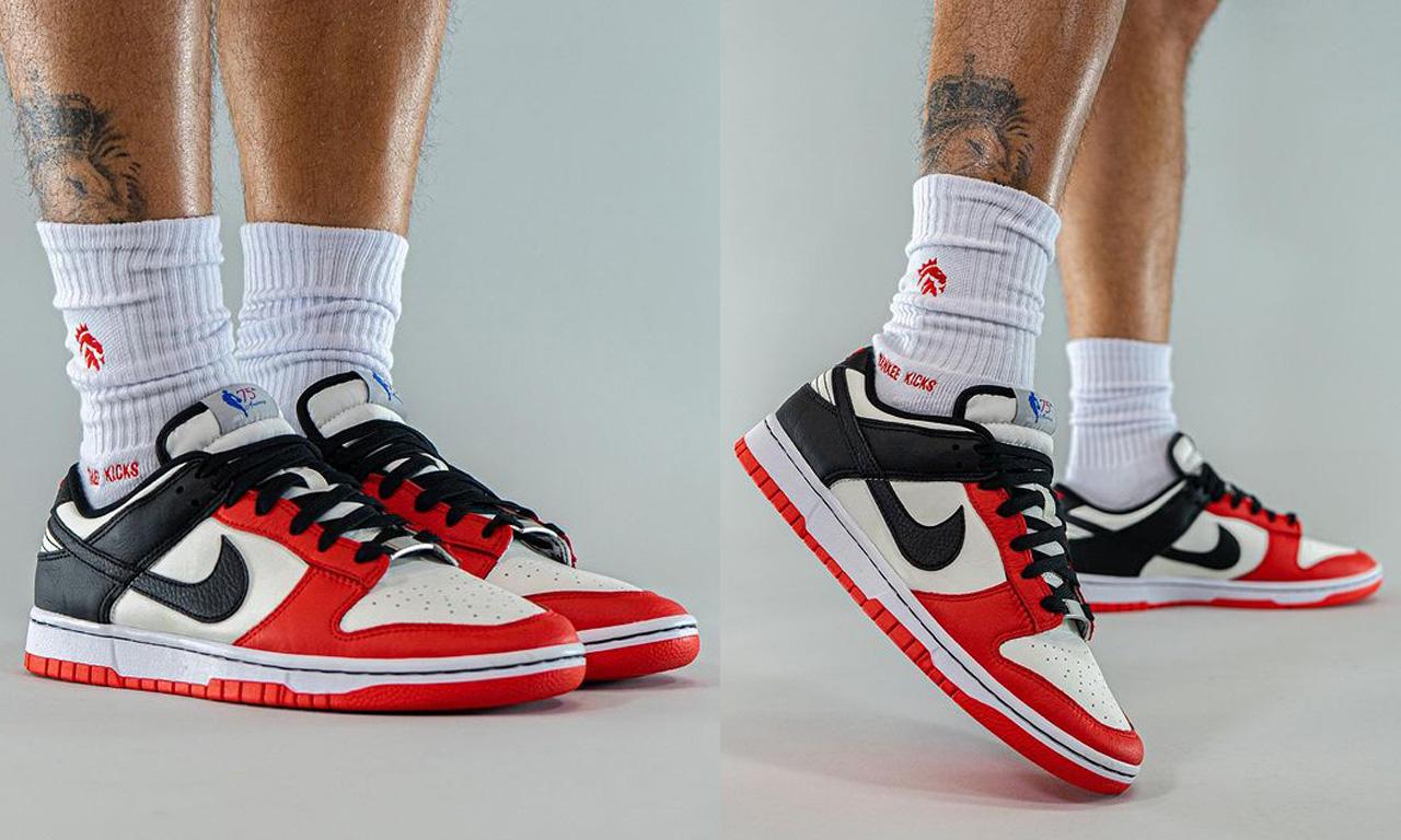 NBA x Nike Dunk Low EMB「Chicago」上脚图释出